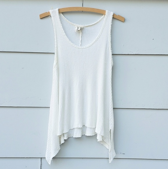 PPLA Tops - PPLA White Boho Distressed Tank Top